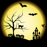 Halloween silhouettes and full moon Stock Photos