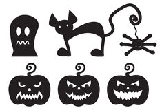 Halloween silhouettes monsters Royalty Free Stock Images
