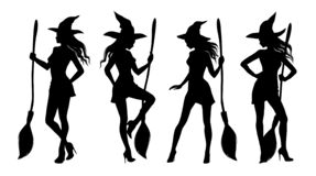 Free Halloween Silhouettes Of Sexy Witch. Set 2 Royalty Free Stock Photos - 198268548