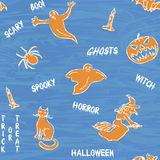 Halloween silhouettes pattern with text Royalty Free Stock Image