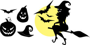 Halloween silhouettes set. Set of silhouettes for Halloween, pumpkin, witch flying on a broom and other Party Supplies Stock Image