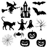 Halloween silhouettes set Royalty Free Stock Image