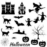 Halloween silhouettes set Royalty Free Stock Photography