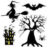 Halloween silhouettes. Set of witch, spider, bat, tree, and castle royalty free illustration