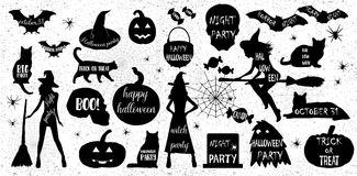 Halloween Silhouettes. Witch, pumpkin, black cat.Halloween party. Spider sticker. Trick or treat. Royalty Free Stock Photos