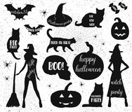 Halloween Silhouettes. Witch, pumpkin, black cat.Halloween party. Spider sticker. Trick or treat. Stock Photo