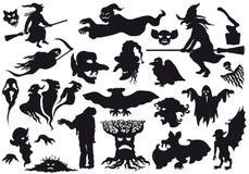 ??????Halloween silhuetas dos monstro Imagens de Stock