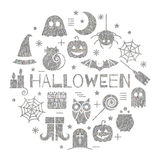 Halloween silver icons set in circle shape. On white background. Bright design concept for festive banner, greeting and invitation card, flyer, tag, poster Stock Photo