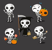 Halloween Skeleton cartoon action set Stock Image