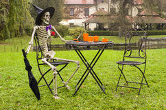 Halloween skeleton decoration in garden Stock Photo