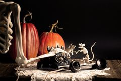 Halloween Skeleton Dialing Vintage Phone Royalty Free Stock Photos