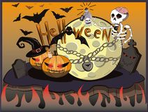 Halloween skeleton and moon. Bats above the cemetery stock illustration
