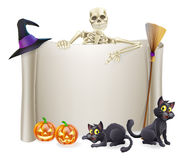 Halloween Skeleton Scroll Royalty Free Stock Photography