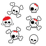 Halloween skeleton skulls. Clip art illustration isolated on a white background. Can be placed on your design or costume. Set of six skulls. this design stock illustration