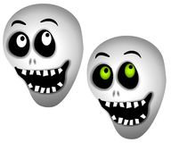Halloween Skeleton Skulls. A clip art illustration of a pair of halloween skeleton skulls smiling. Set on white background with your choice of plain or green Royalty Free Stock Image
