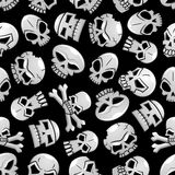 Halloween skeleton skulls seamless background. Skulls seamless pattern background. Scary skeleton craniums and crossbones halloween wallpaper stock illustration