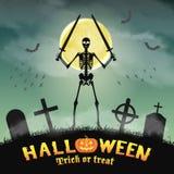 Halloween skeleton warriors in a night graveyard Stock Images