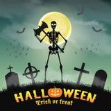 Halloween skeleton warriors in a night graveyard Stock Photo