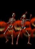 Halloween skeletons and evil pumpkins royalty free illustration