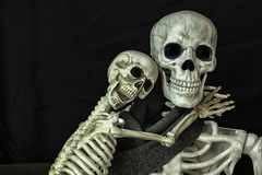 Halloween Skeletons getting ready to go trick or treating. Two Halloween Skeletons getting ready for the holiday royalty free stock image