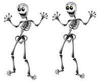 Halloween Skeletons Standing. A clip art illustration of a pair of halloween skeletons smiling and standing. Set on isolated white background with your choice of vector illustration
