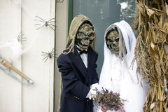 halloween skelett- bröllop Royaltyfria Bilder