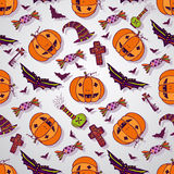 Halloween sketches background. Hand drawn Royalty Free Stock Image