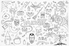 Halloween sketchy hand drawn doodle set. Royalty Free Stock Photos