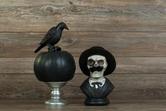 Halloween skull bust and crow royalty free stock photos