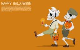 Halloween skull chidren. Two skull boys are traveling for asking treats on Halloween night royalty free illustration