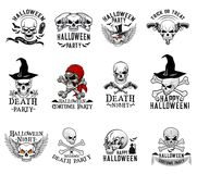 Halloween costume party skull vector icons Royalty Free Stock Photo