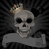 Halloween skull. Crowned skull on black dirty background with copy space Stock Image