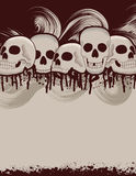 Halloween skull and dripping blood background. A blank Halloween flyer with skulls and blood stains Royalty Free Stock Image