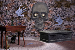 Halloween skull in dungeon. Royalty Free Stock Images