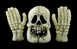 Halloween skull with hands Royalty Free Stock Photography