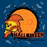 Halloween skull in the hat under the moonlight and candles. Royalty Free Stock Photography