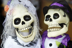 Halloween skull husband and wife Royalty Free Stock Images