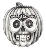 Halloween skull pumpkin tattoo . Stock Photography
