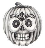 Halloween skull pumpkin tattoo . Stock Photography