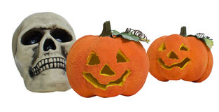Halloween skull and pumpkins Stock Image