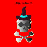 Halloween skull on a red background Royalty Free Stock Photos