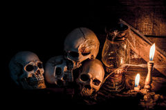 Halloween. Skull and scary scene for Halloween Stock Image
