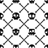 Halloween skull  seamless pattern, Mexican cute black skulls with bones design, Dia de los Muertos background Stock Images