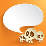 Halloween skull with speech bubble Royalty Free Stock Images