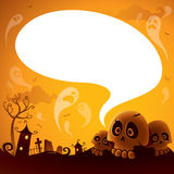 Halloween skull with speech bubble Royalty Free Stock Image