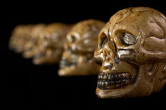 Halloween Skulls in a Row Royalty Free Stock Photography
