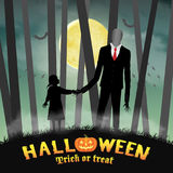 Halloween slender tall man with girl in forest. A halloween slender tall man with girl in forest Stock Images