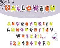 Halloween slimy font for kids. Paper cut out cartoons. For posters, banners, room decoration stock illustration