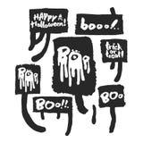 Halloween Slogans in Speech bubbles Stock Photo