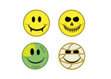 Halloween smiles. Vampire and skull and frankenstein and mummy smiles set Royalty Free Stock Photos